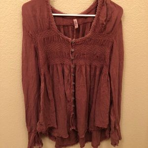 Free People Button Up Peasant Top!